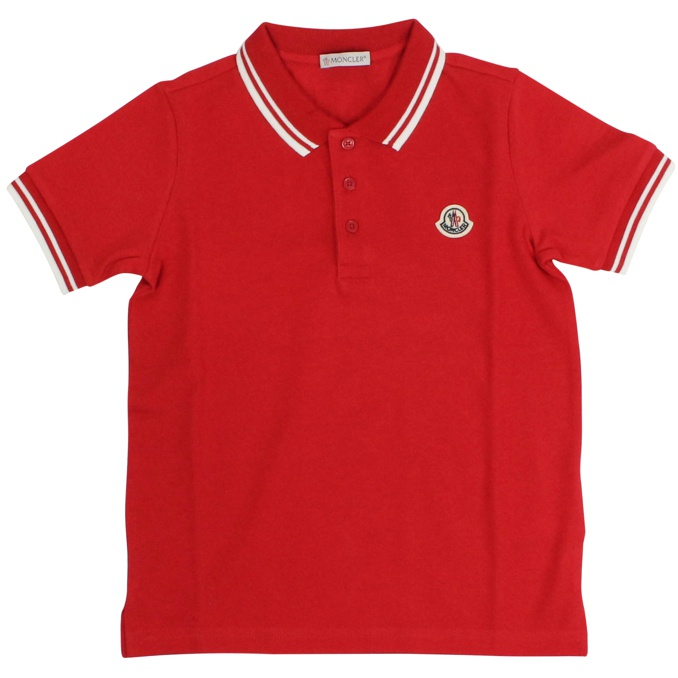 Three-button polo shirt with striped edges Red Moncler
