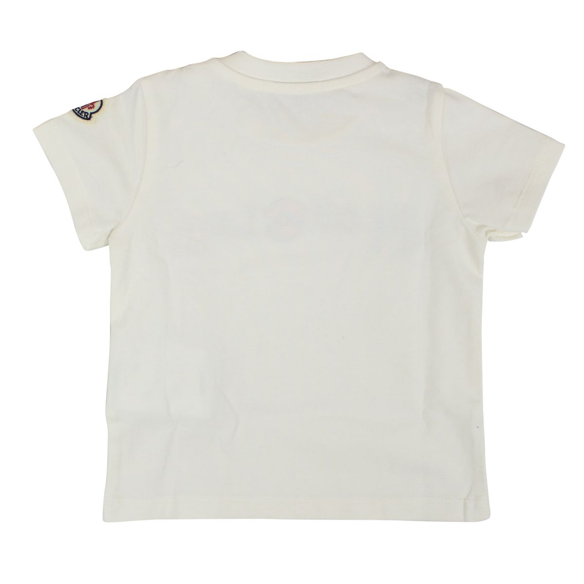 T-shirt with buttons and multicolor logo White Moncler