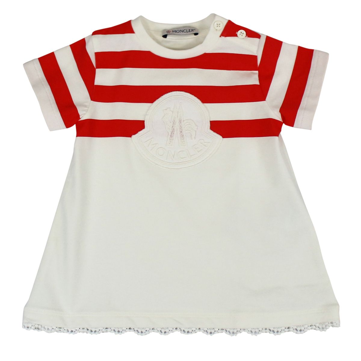 Cotton T-shirt with striped print and logo Cream Moncler
