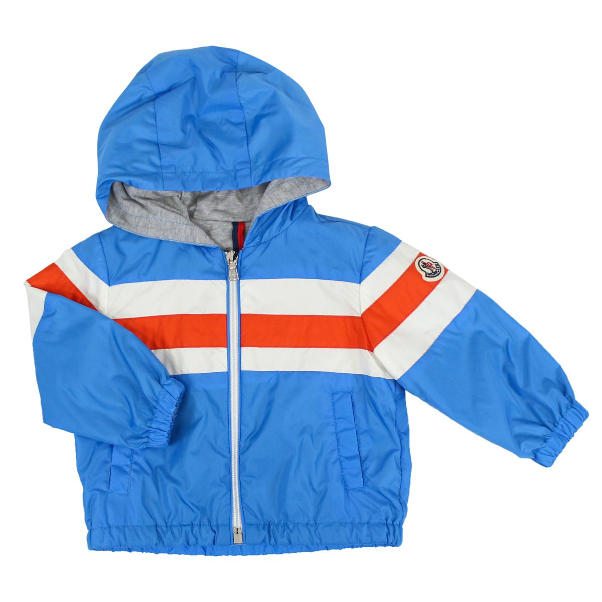 Nylon jacket with hood and zip Light blue Moncler