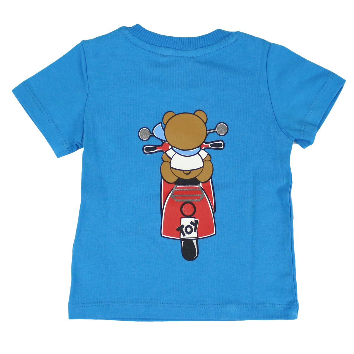 Stretch cotton t-shirt with motorcycle print Bluette Moschino