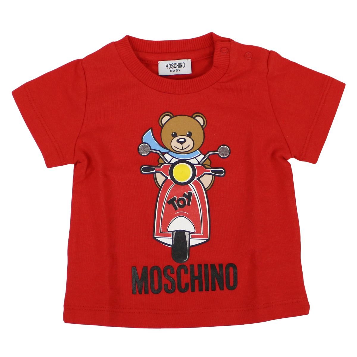 Stretch cotton t-shirt with motorcycle print Red Moschino