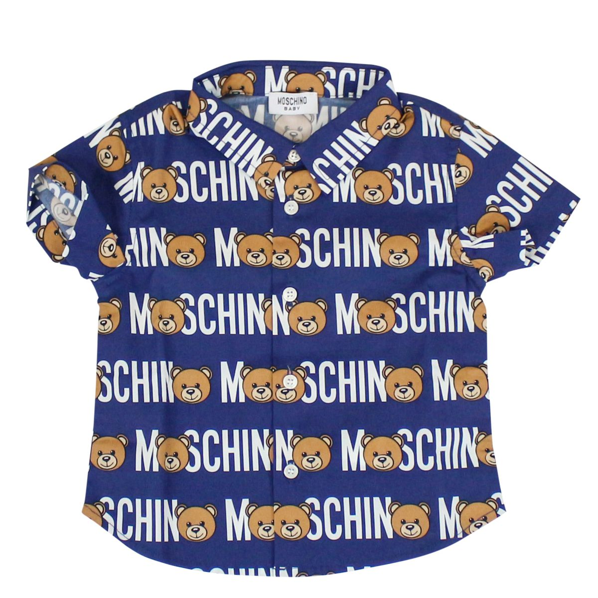 Shirt with Teddy bear all over print Blue Moschino