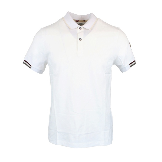 Polo in piqué cotton with striped edges White Colmar