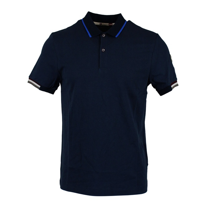 Polo in piqué cotton with striped edges Blue Colmar