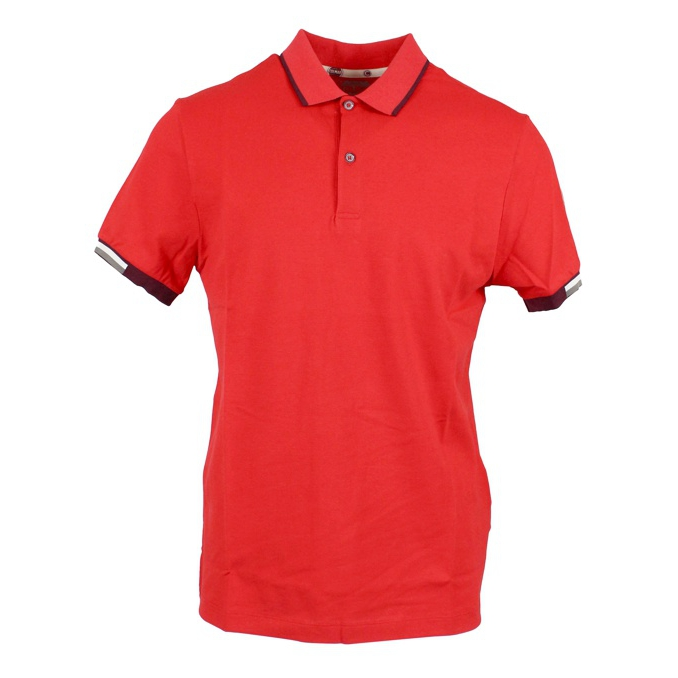 Polo in piqué cotton with striped edges Red Colmar