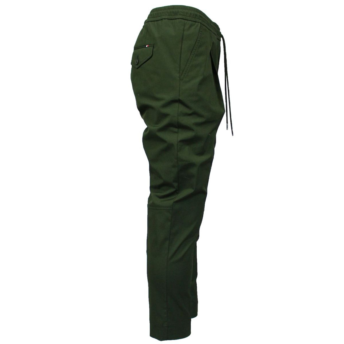 Sporty cotton trousers with drawstring Olive Moncler