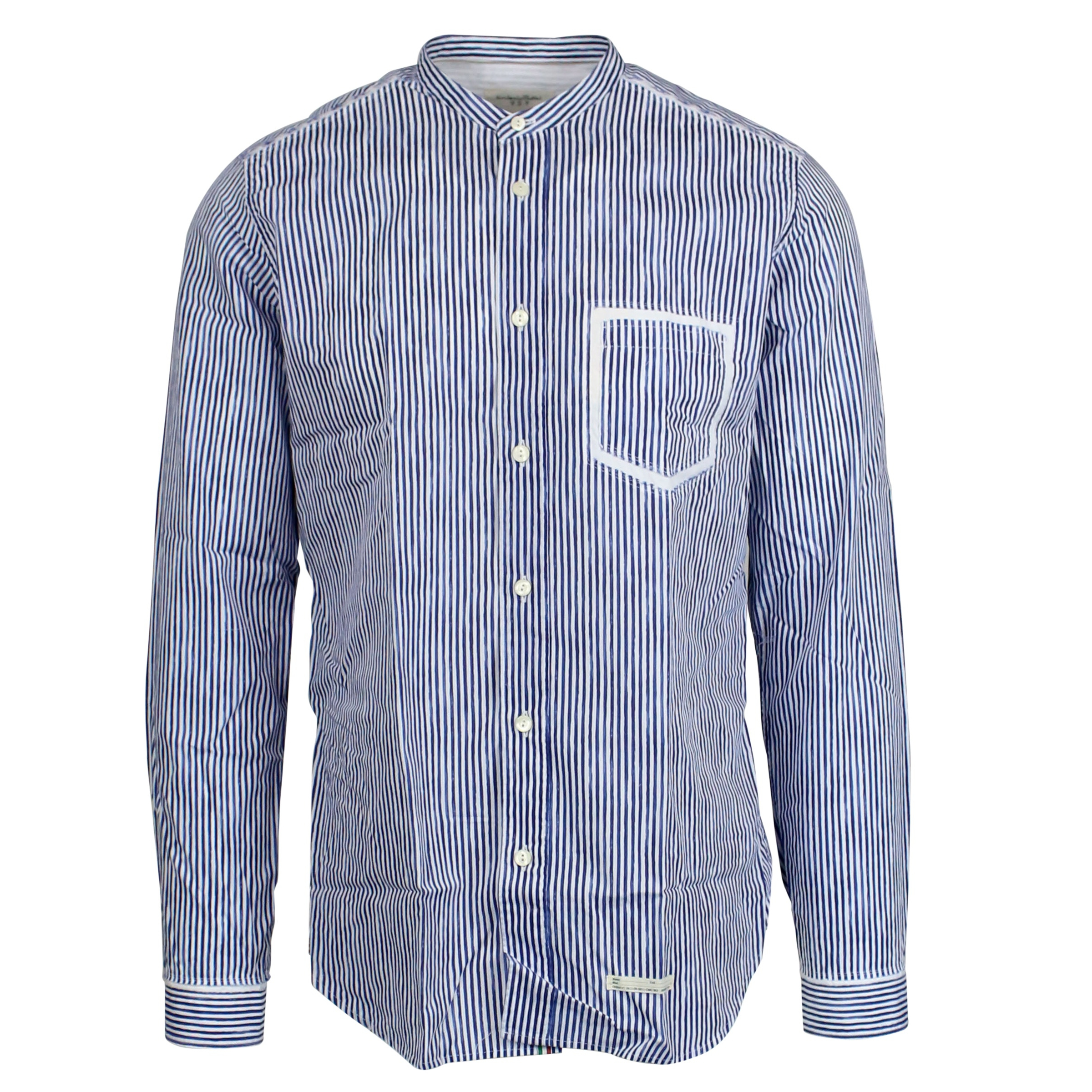 size 40 e12bc 3af57 Micro-striped shirt with guru neck