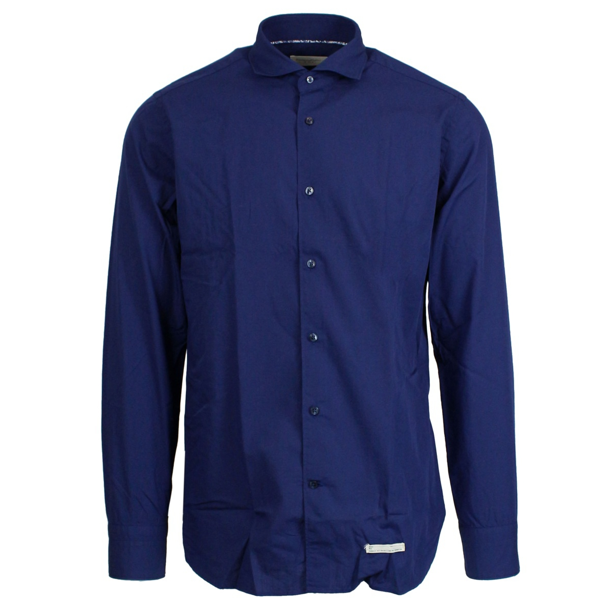 Shirt with French collar in cotton Blue TINTORIA MATTEI