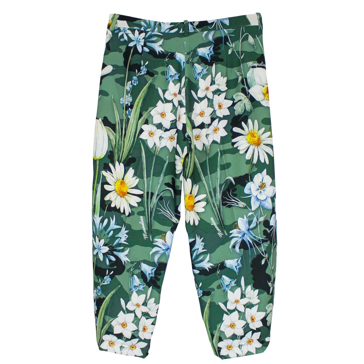 Cropped camouflage trousers with floral print Green MONNALISA