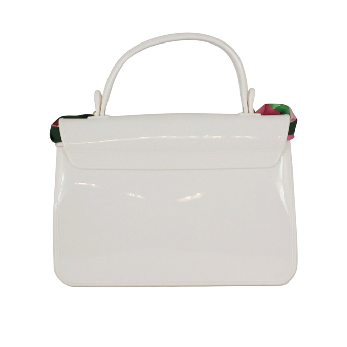 Patent leather bag with scarf Cream MONNALISA