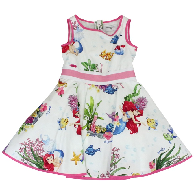 Siamitetta dress with Little Mermaid print Fancy white Monnalisa