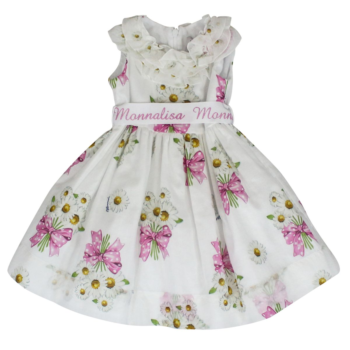 Dress with daisies and rouches print White MONNALISA