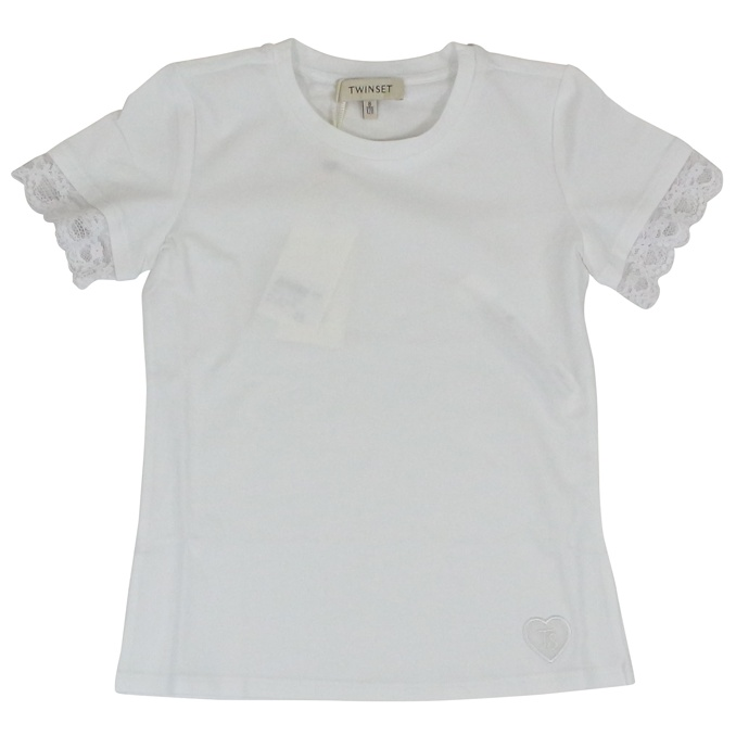 Crew-neck t-shirt with lace White Twin-Set