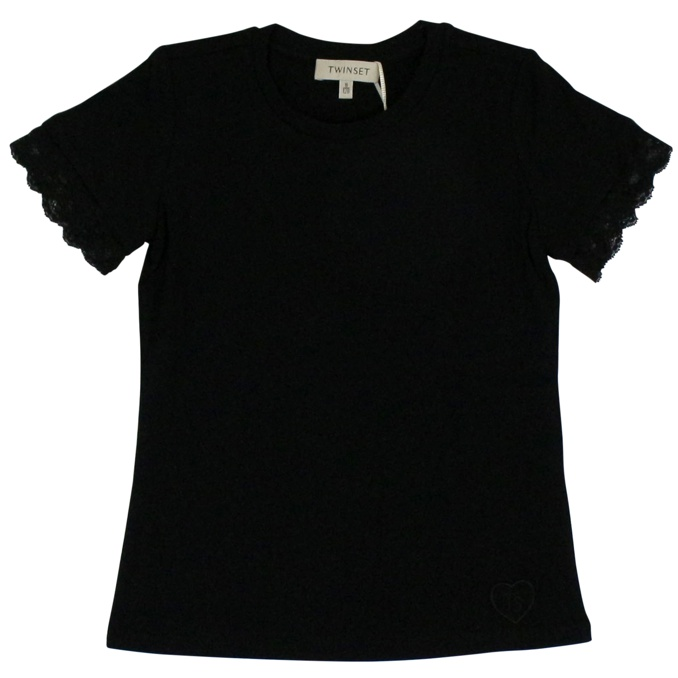 Crew-neck t-shirt with lace Black Twin-Set