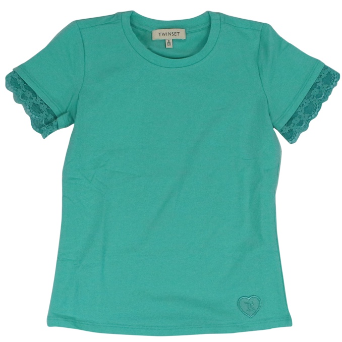 Crew-neck t-shirt with lace Green water Twin-Set