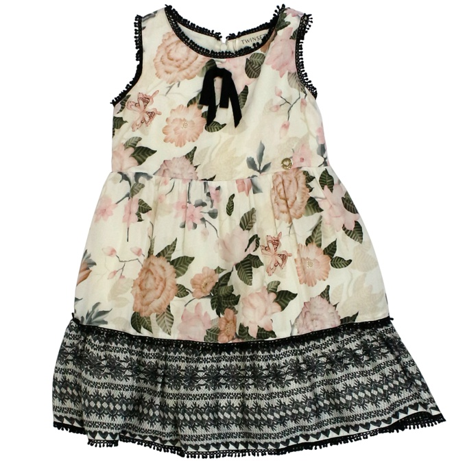 Sleeveless flower and lace print dress White / flowers Twin-Set