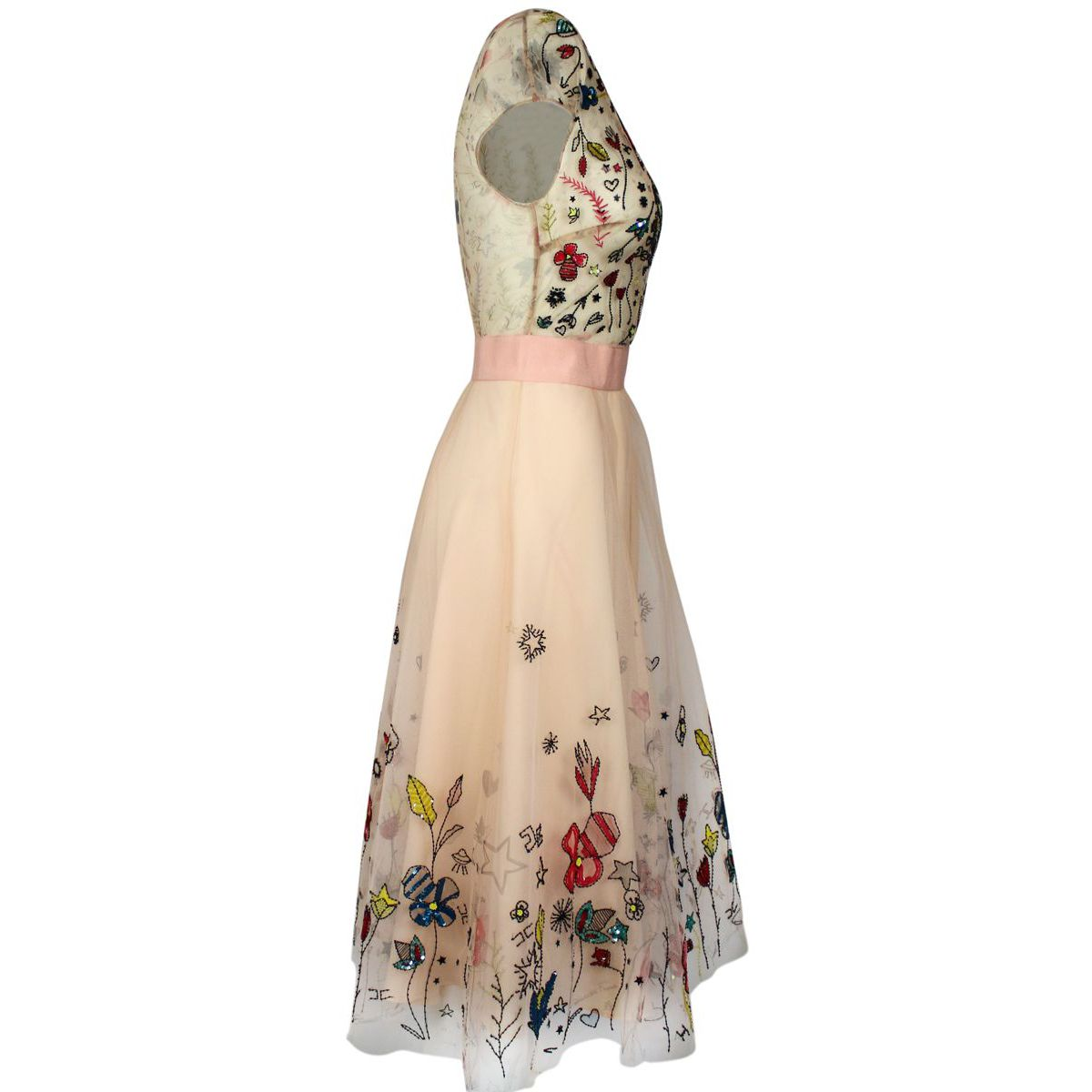 Tulle dress with multicolor flowers print Face powder Elisabetta Franchi