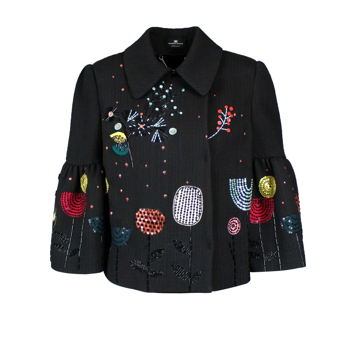 Short jacket with multicolor embroidery Black Elisabetta Franchi