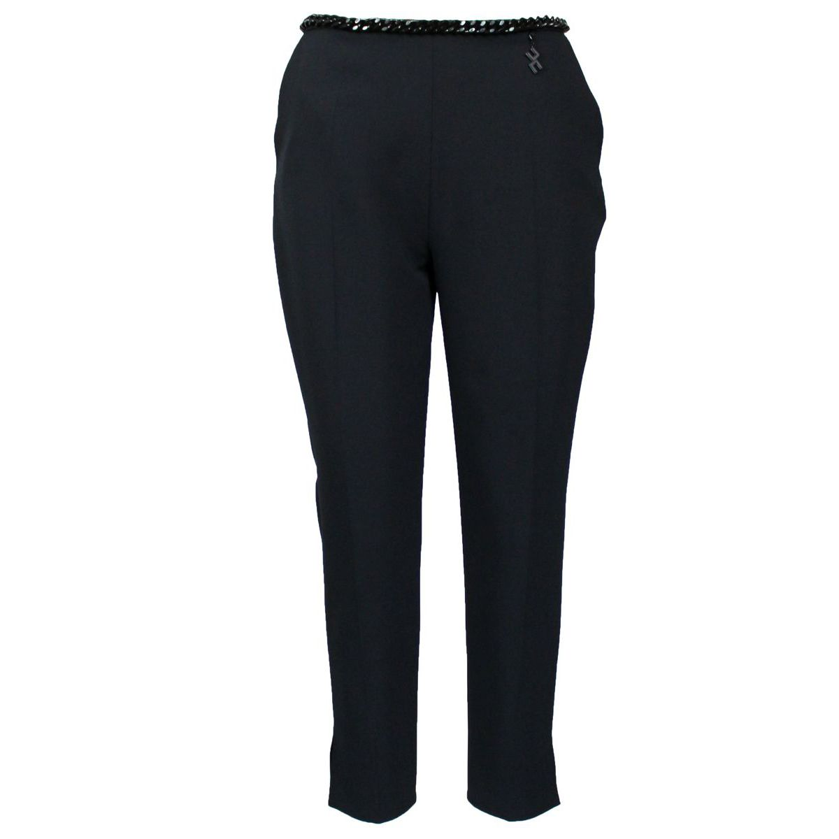 High-waisted trousers with chain Black Elisabetta Franchi