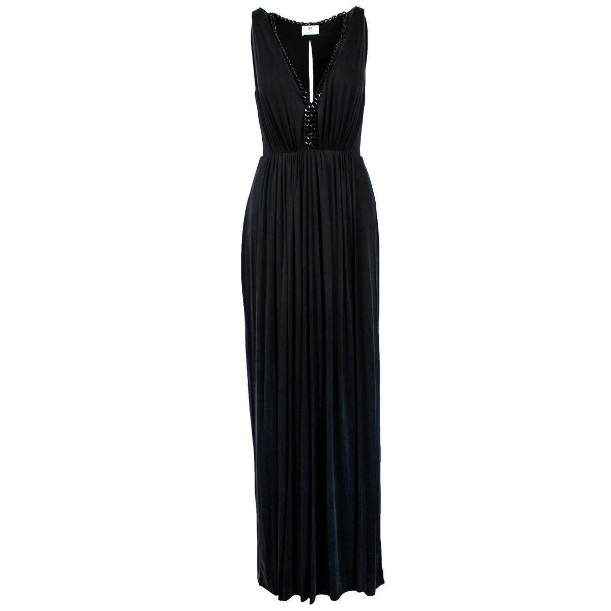 Long sleeveless dress with chains Black Elisabetta Franchi