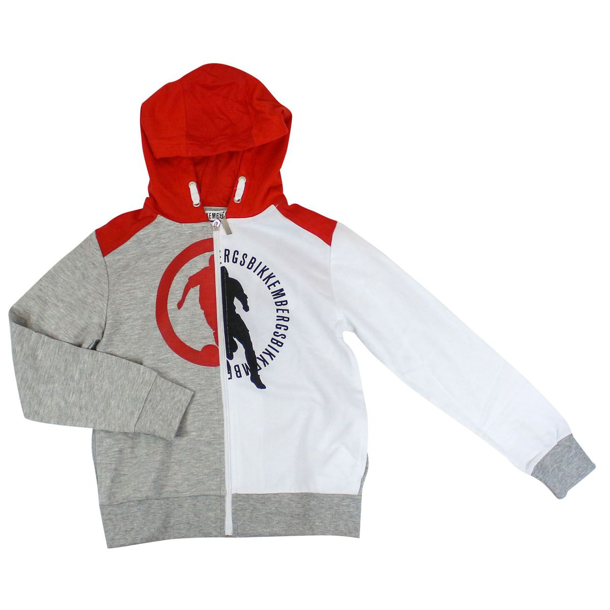 Sweatshirt with zip and hood White / gray Bikkembergs