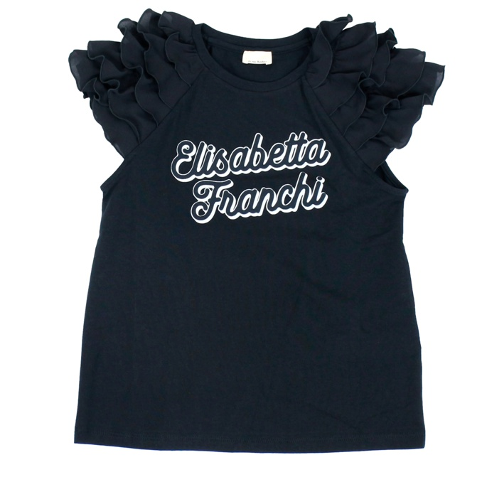 T-shirt with logo print and rouches Black Elisabetta Franchi