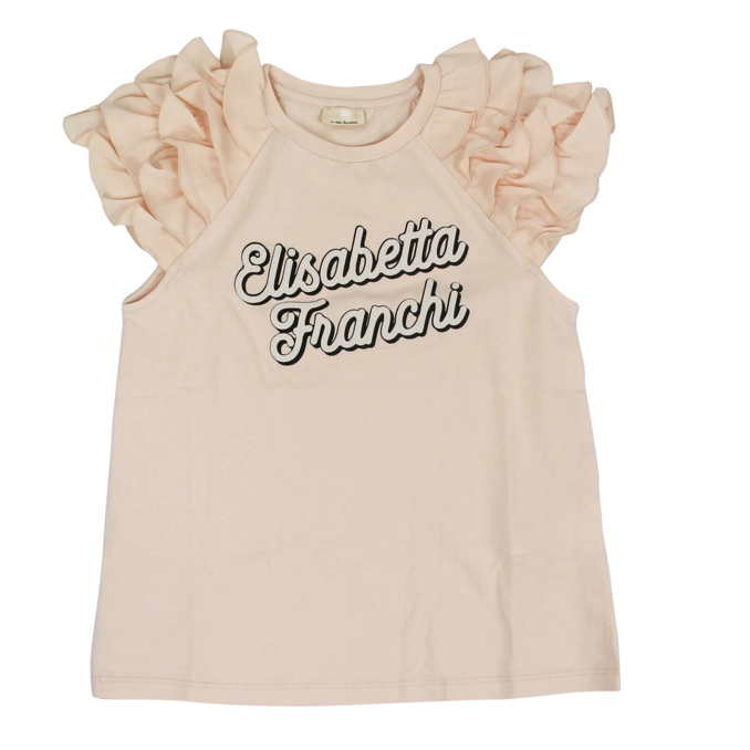 T-shirt with logo print and rouches Rose Elisabetta Franchi