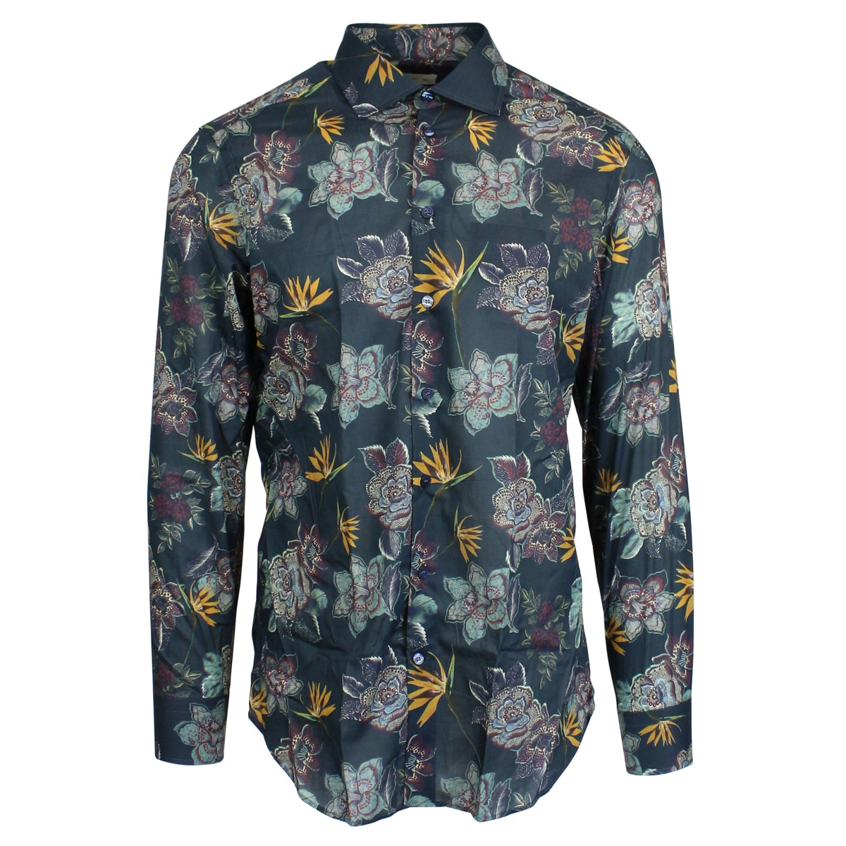 Slim-fit shirt with flower print Petroleum Etro