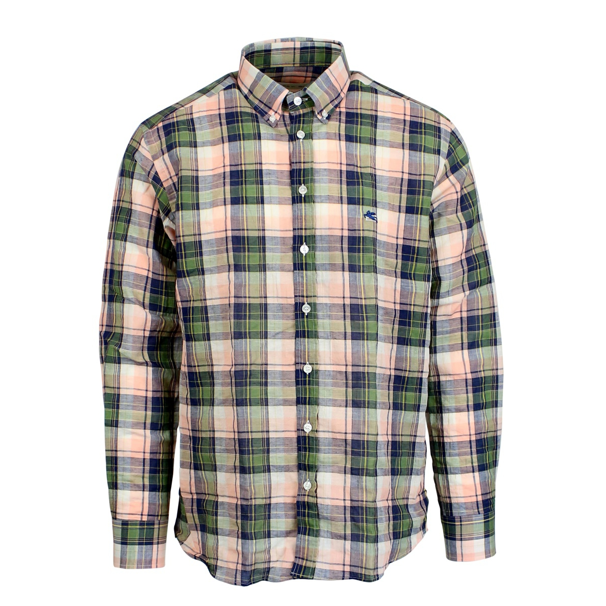 Custom checked shirt with logo Green / pink Etro