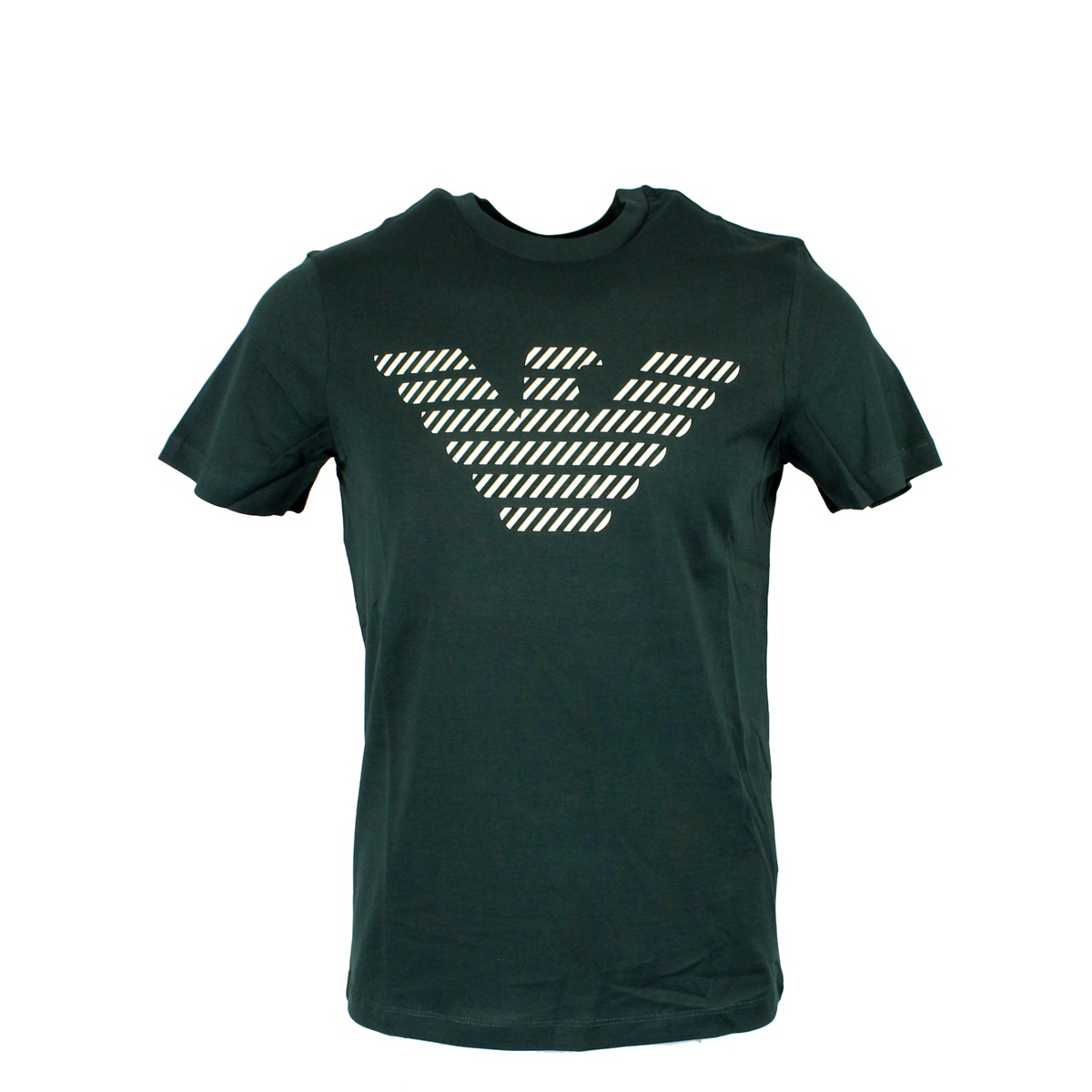 Cotton T-shirt with logo print Dark green EMPORIO ARMANI