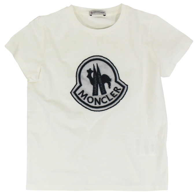 617192859 Maxi logo print central t-shirt Cream, Moncler 80695 05 8790a ...