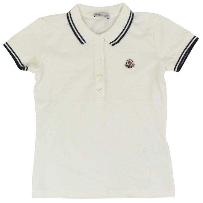 Polo with contrasting trims and side logo White Moncler