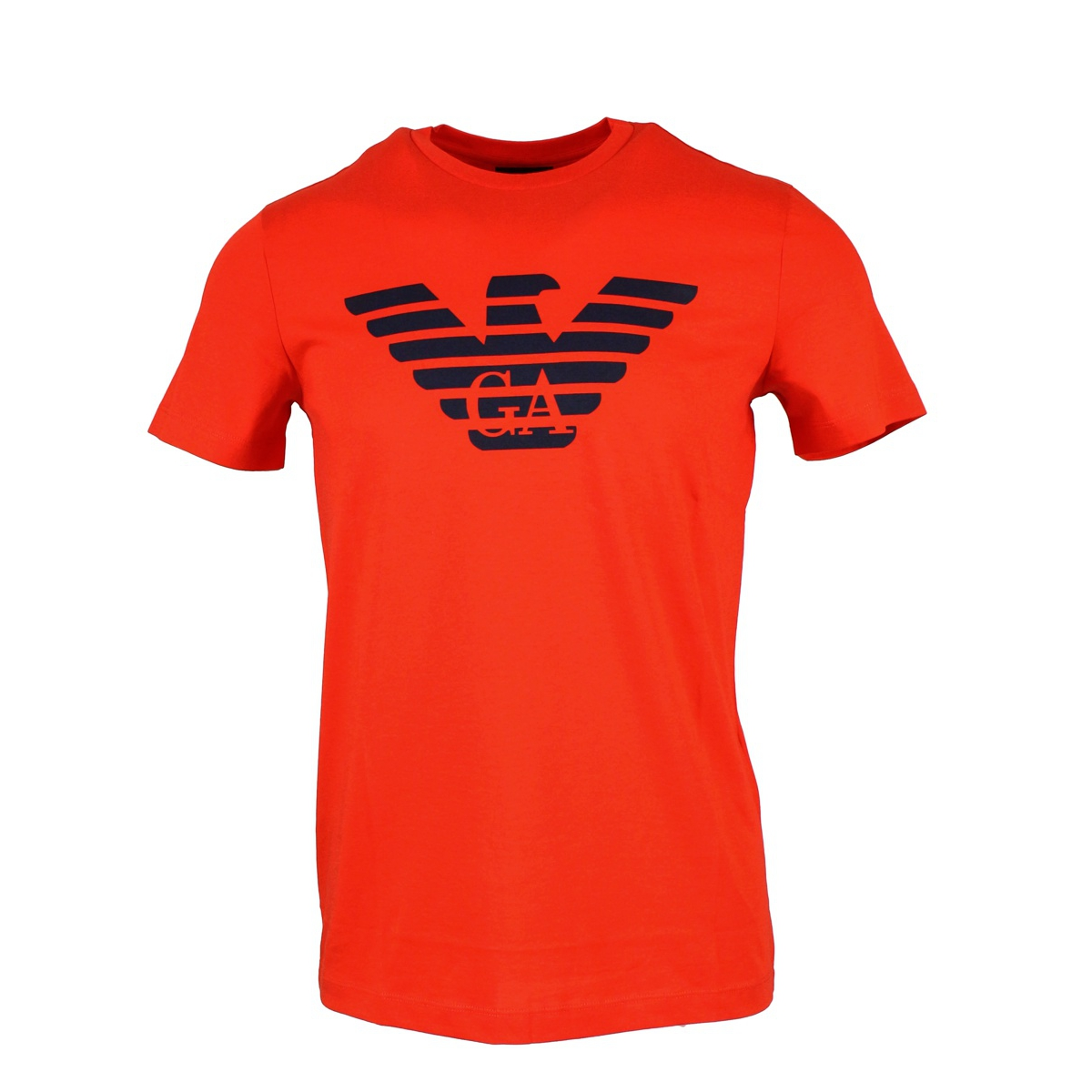 Cotton t-shirt with large central logo Coral EMPORIO ARMANI