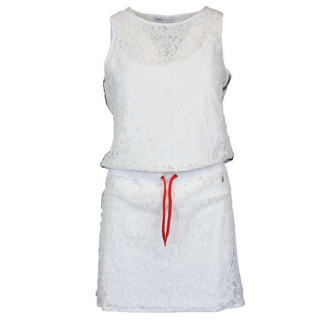 Lace dress with side bands White Patrizia Pepe
