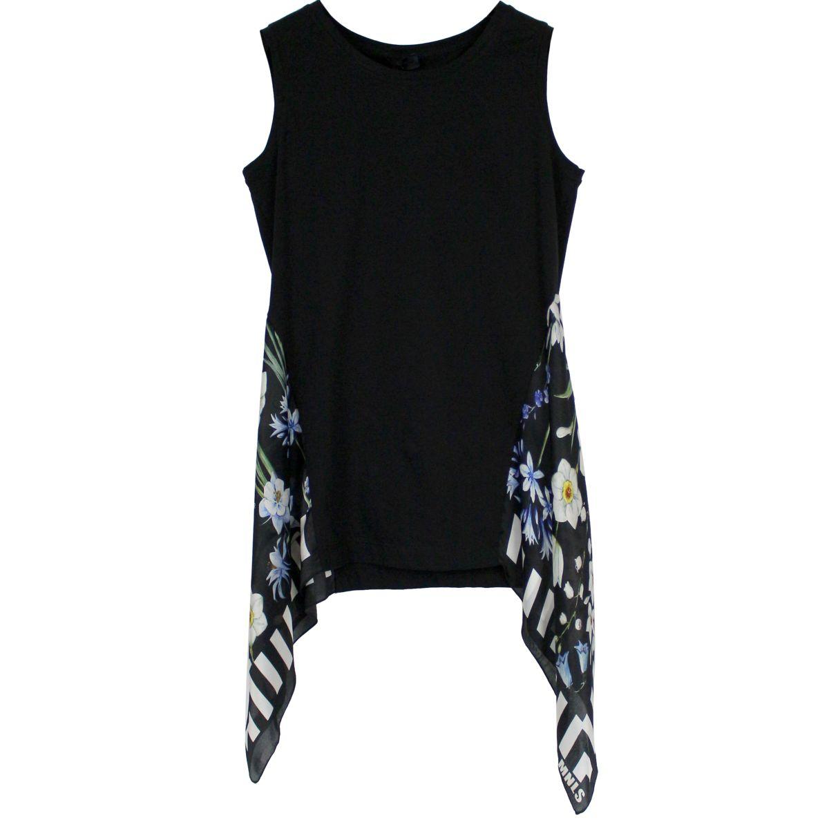 Silk-blend tank top with scarf Black MONNALISA