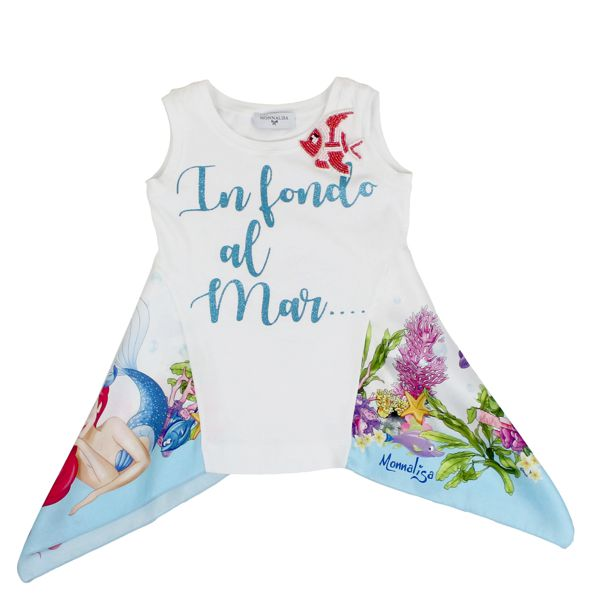 Tank top with lurex print and scarf White Monnalisa