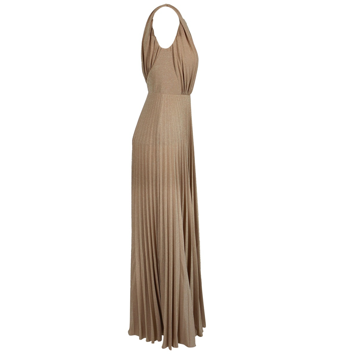 Long dress in pleated lurex in viscose blend Antique pink Elisabetta Franchi