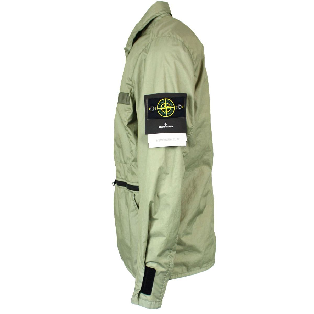 Nylon jacket with pockets and buttons Sage Stone Island