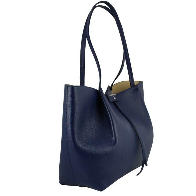 Large leather shopping bag Blue Patrizia Pepe