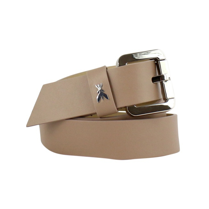 Leather belt with logo Beige Patrizia Pepe