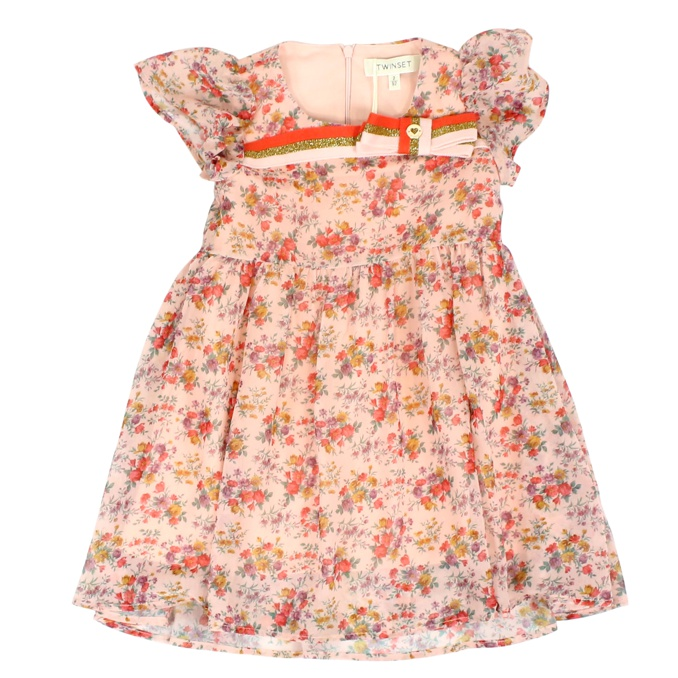 Flower and bow print dress Rose Twin-Set