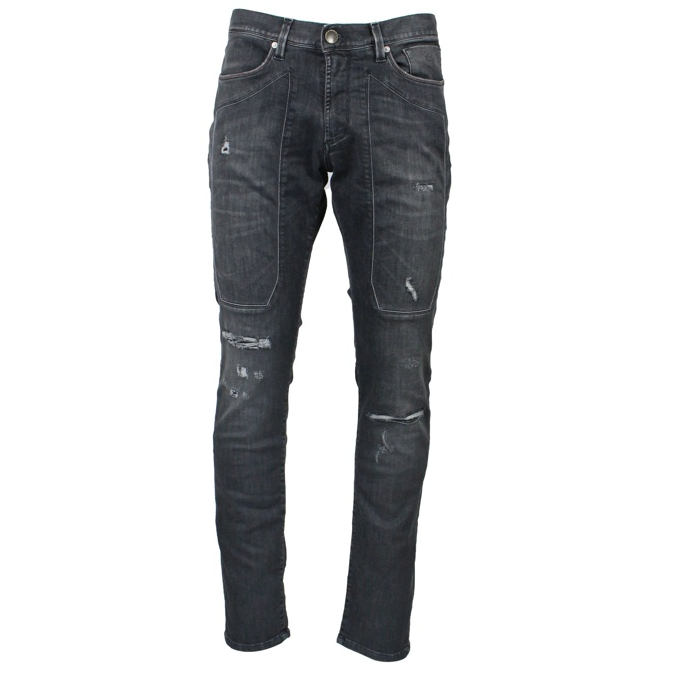 Slim Patch jeans with rips Dark gray Jeckerson
