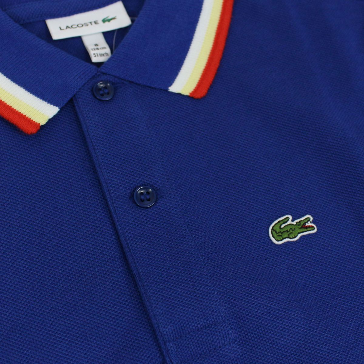 Cotton polo shirt with contrasting collar Royal Lacoste