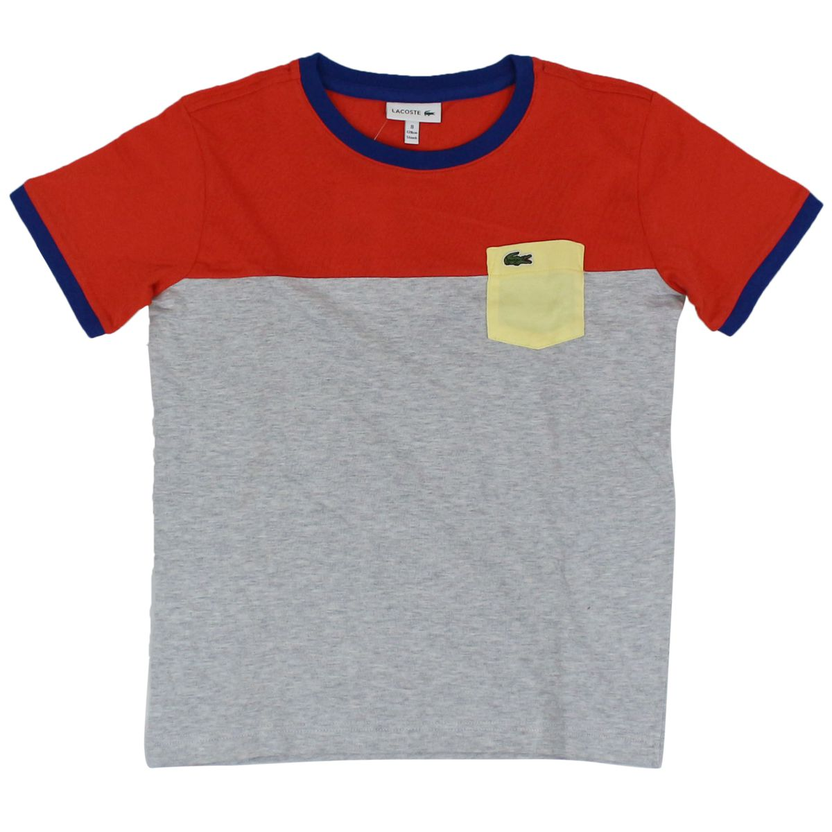 Two-tone T-shirt with contrast pocket Orange / gray Lacoste
