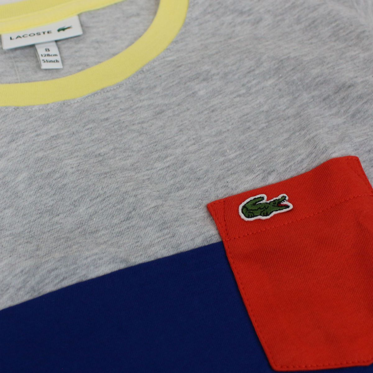 Two-tone T-shirt with contrast pocket Gray / blue Lacoste
