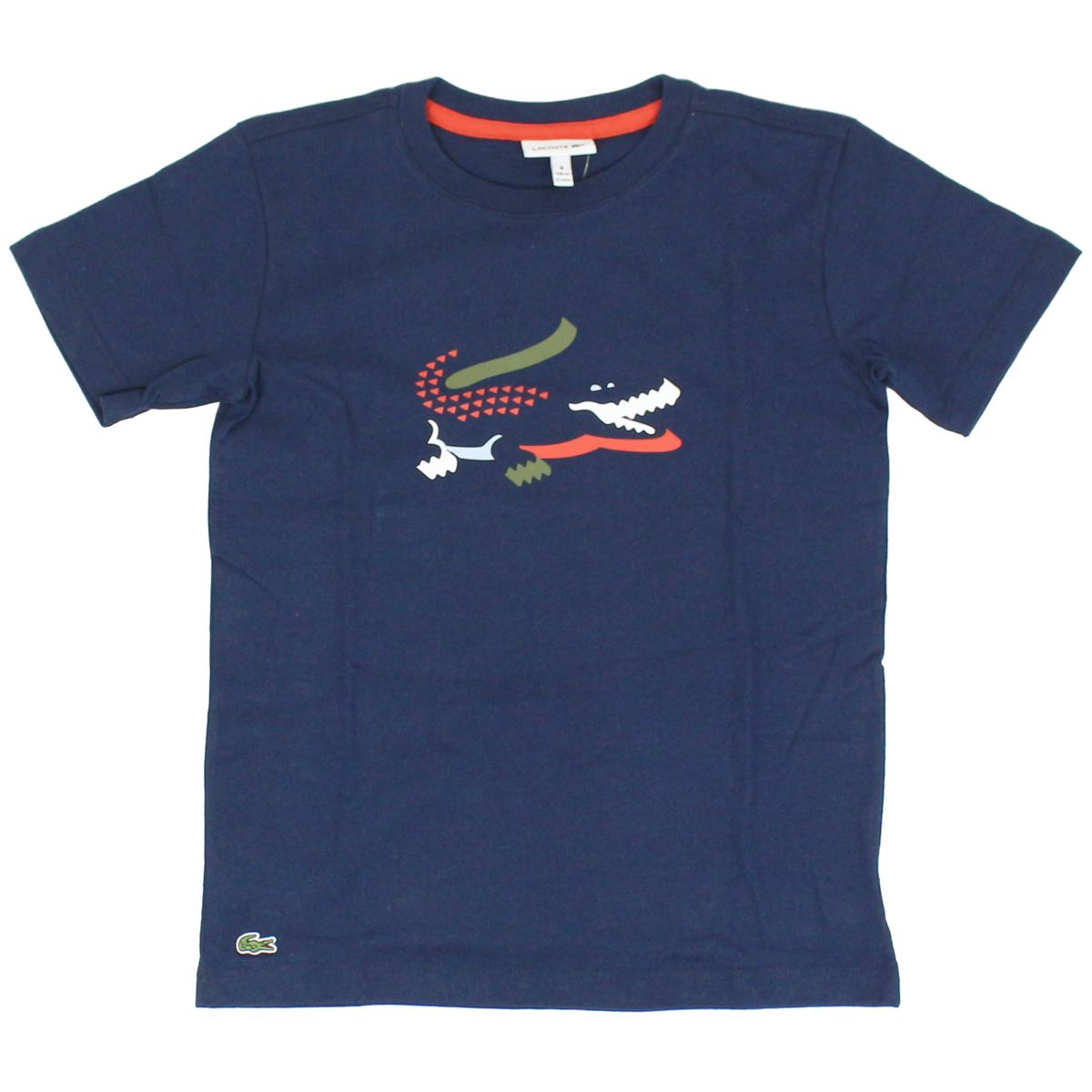 Crocodile print cotton t-shirt Blue Lacoste