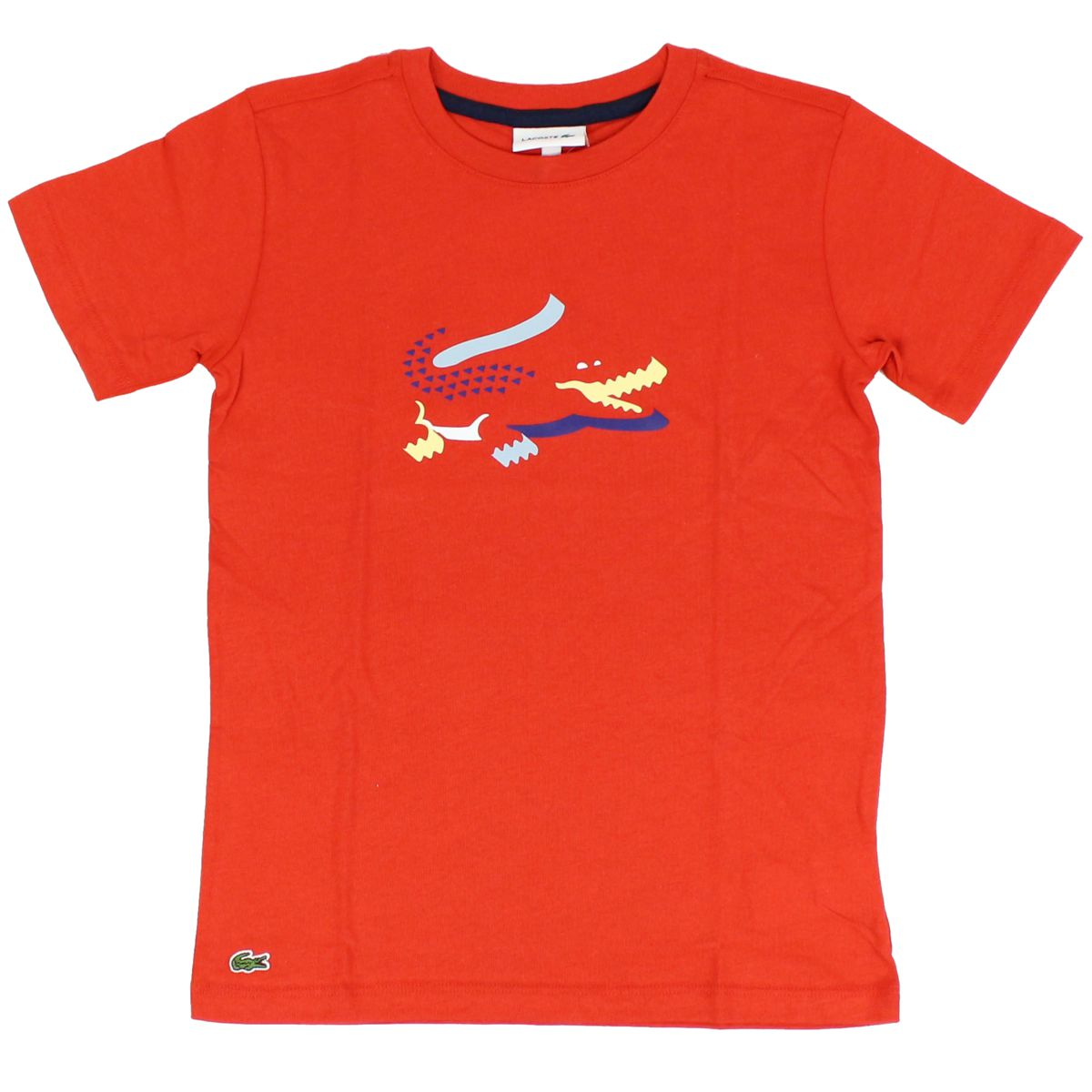 Crocodile print cotton t-shirt Red Lacoste