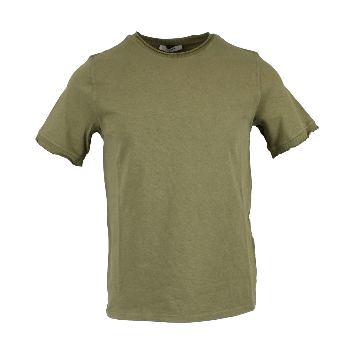 Crew-neck T-shirt in stretch cotton Military ALPHA STUDIO