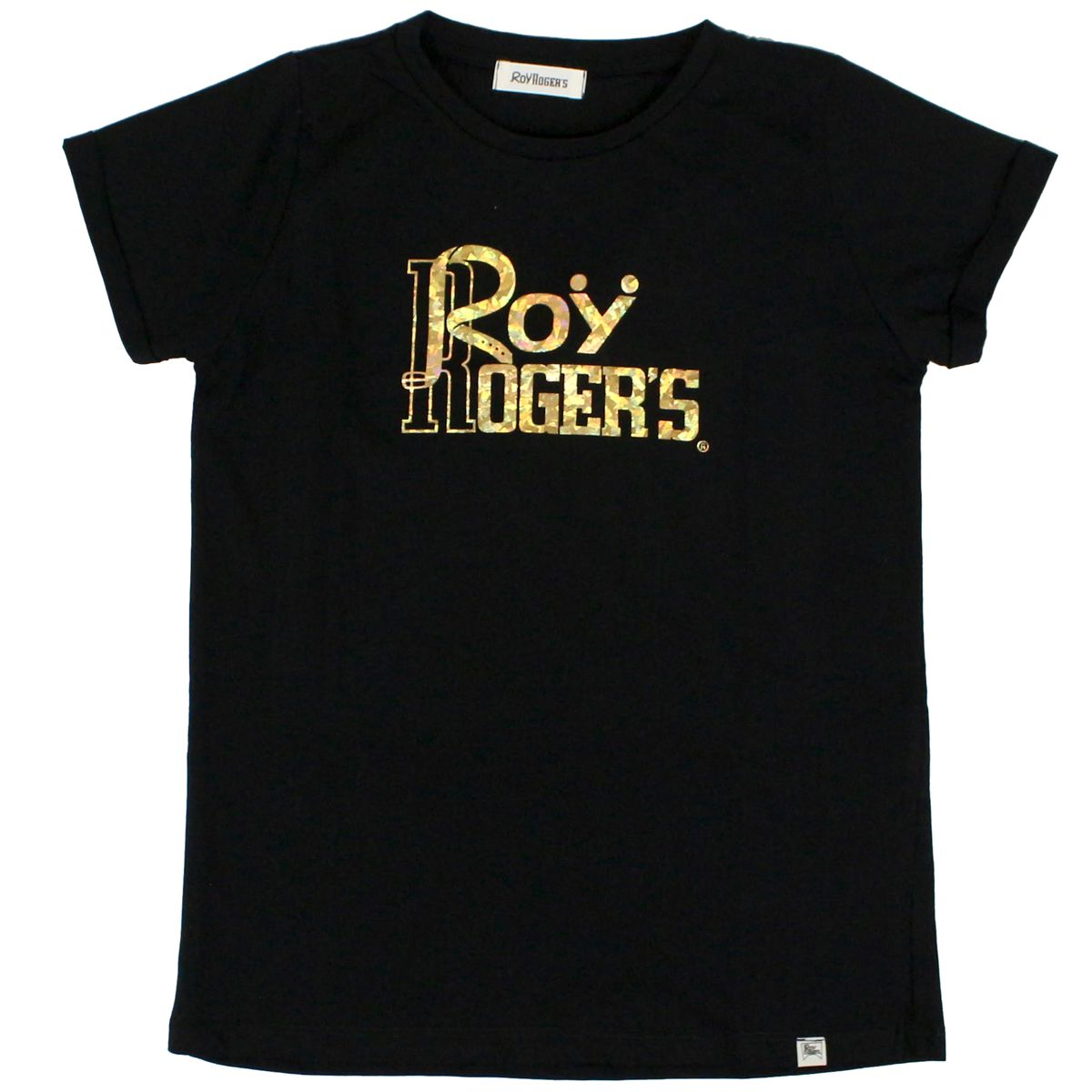 T-shirt with laminated logo print Black Roy Roger's